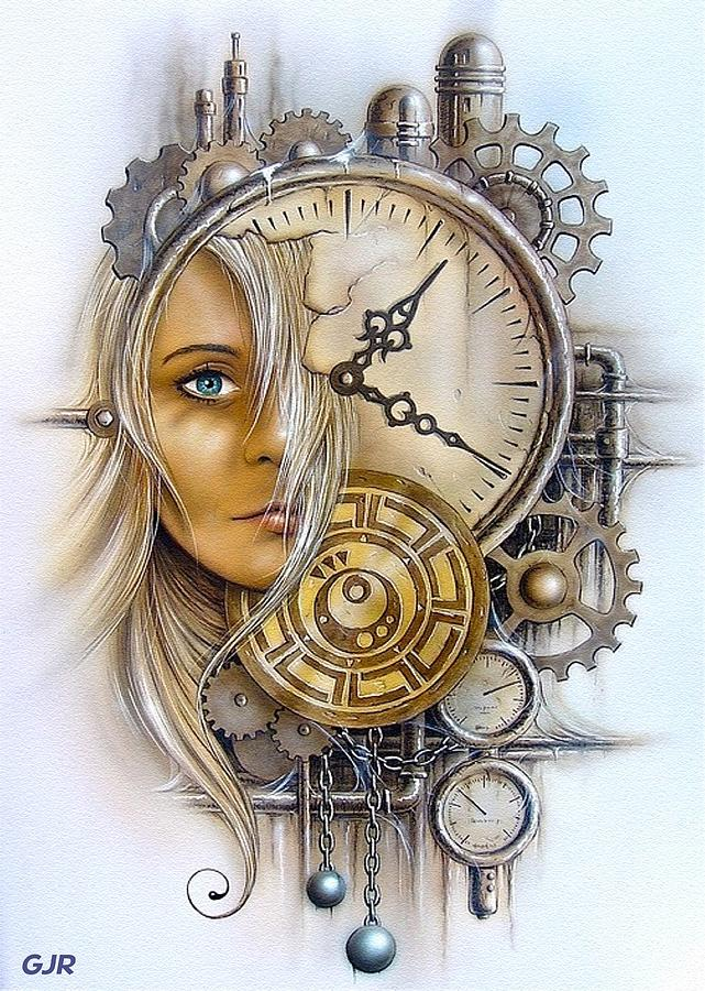 Fantasy Art - Time Encaptulata For A Woman's Face, Clock, Gears And More. L  A S Digital Art by Gert J Rheeders