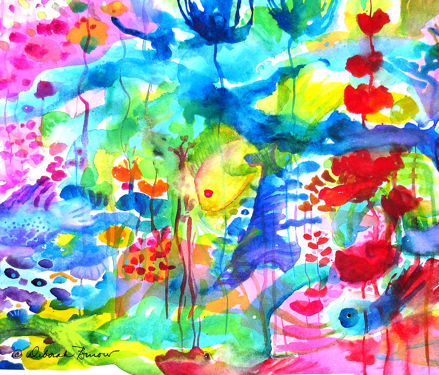Fish Painting - Fantasy-bright Stuff Under The Sea by Deborah Burow