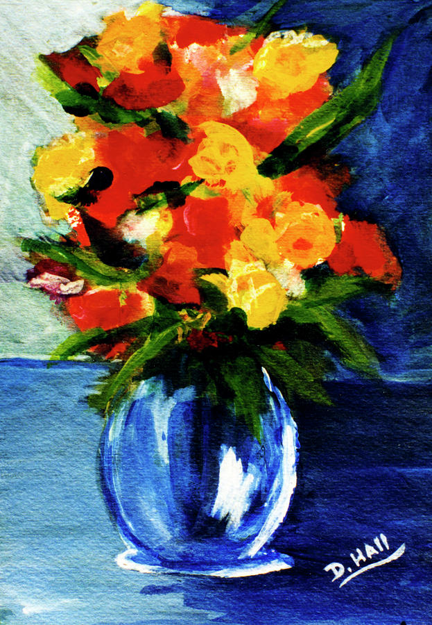 Paintings Painting - Fantasy Flowers #117 by Donald k Hall