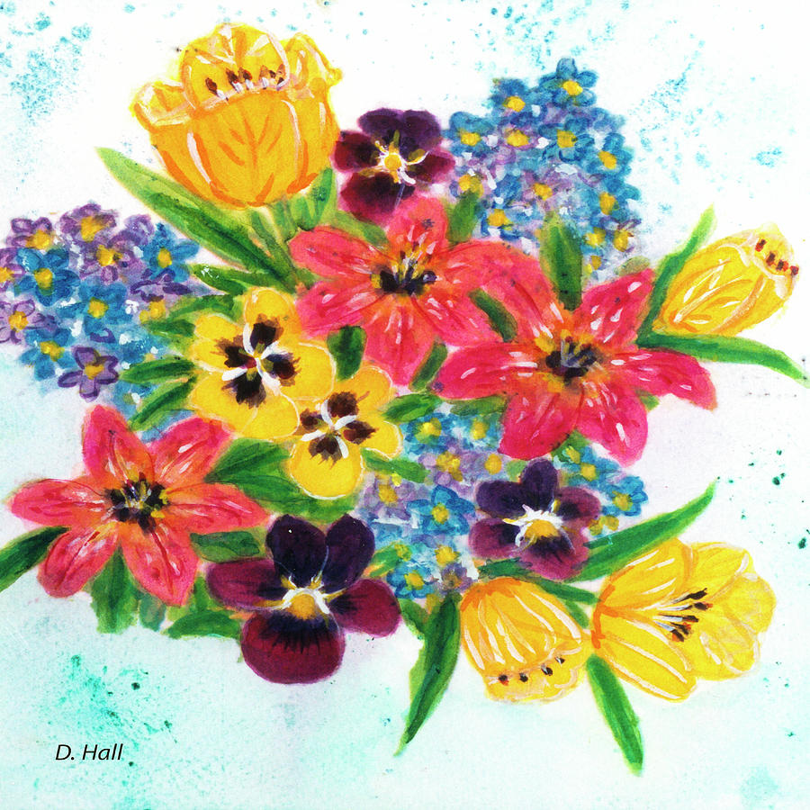 Prints Painting - Fantasy Flowers #233 by Donald k Hall