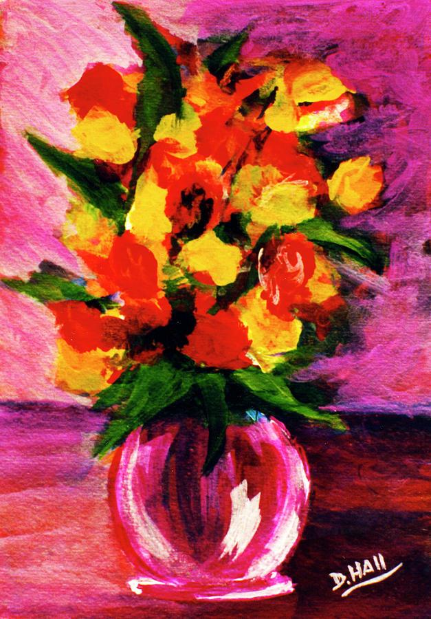 Hawaiian Flowers Painting - Fantasy Flowers Still Life #118, by Donald k Hall