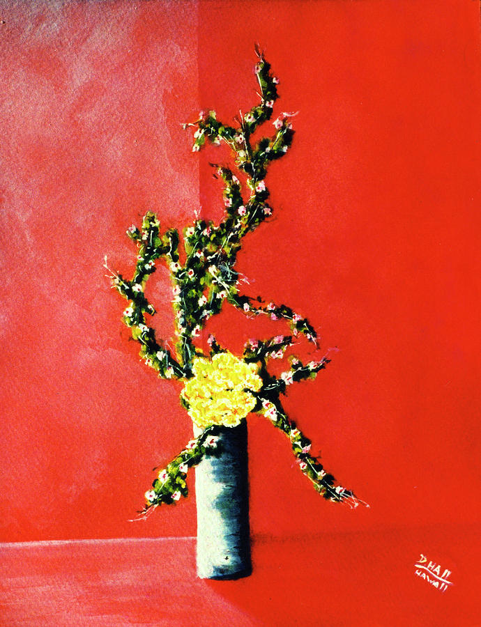 Paintings Painting - Fantasy Flowers Still Life #162 by Donald k Hall
