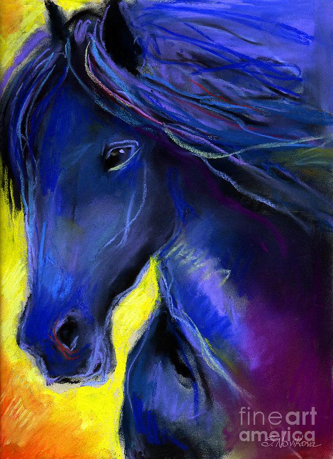 Equine Artists Painting - Fantasy Friesian Horse Painting Print by Svetlana Novikova