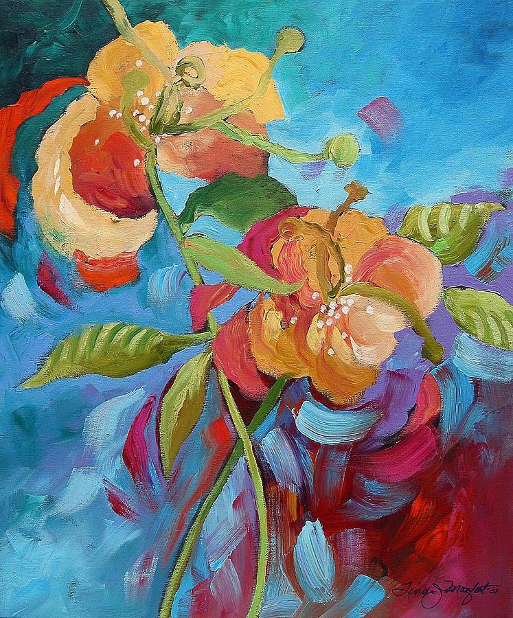 Original Painting - Fantasy Garden  by Linda Monfort