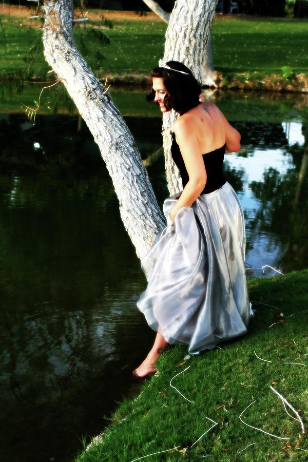 Princess Photograph - Fantasy Princess And The Pond by Charles Benavidez