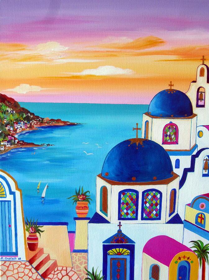 Fantasy Santorini Greek Islands by Roberto Gagliardi