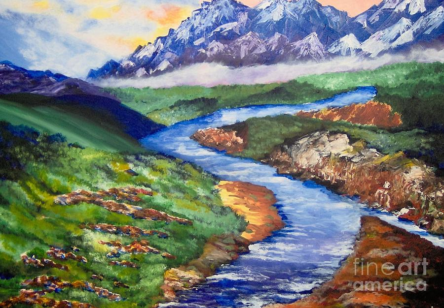 Mountains Painting - Fantasy by Saundra Johnson
