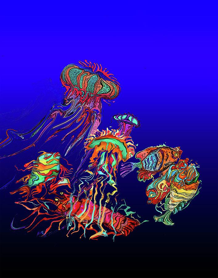 Jellyfish Painting - Fantasy Sea Life1 by Martin Hardy