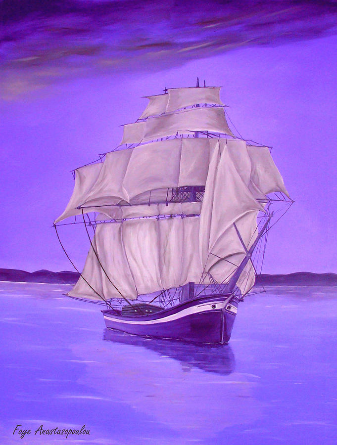 Sailboat Painting - Fantasy Shade by Faye Anastasopoulou