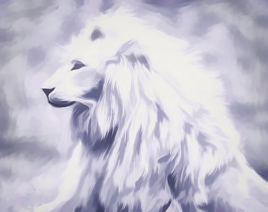Fantasy White Lion by Barbara A Lane