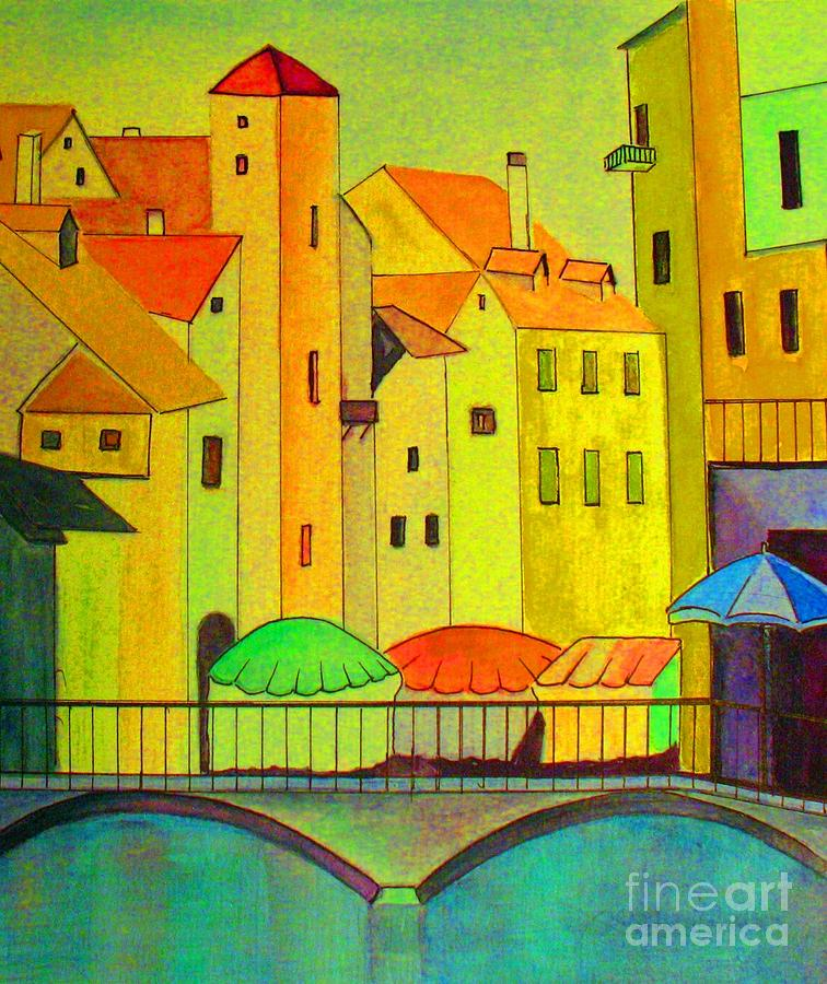 City Painting - Far Away Places  by Hazel Holland