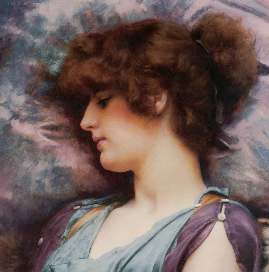 English Painters Painting - Far Away Thoughts by John William Godward