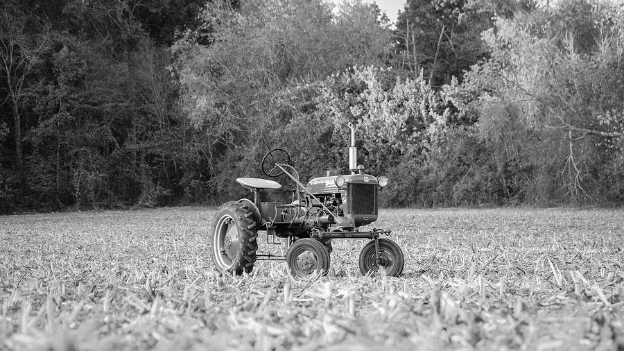 B&w Photograph - Farm All In  Corn Field Blsck And White by Seth Solesbee