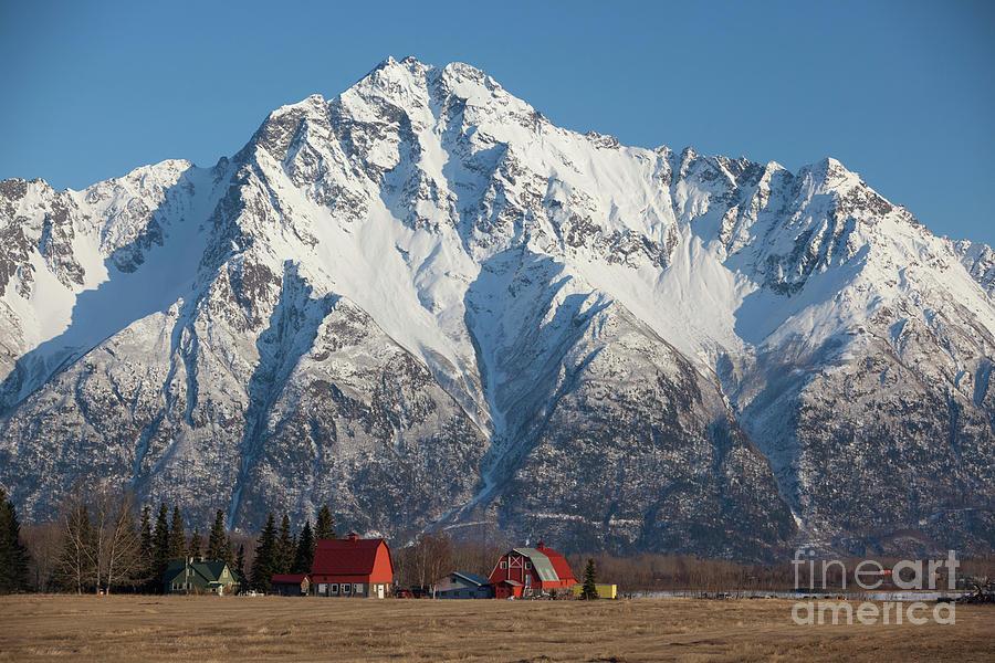 Farm and Pioneer Peak by Doug Lindstrand