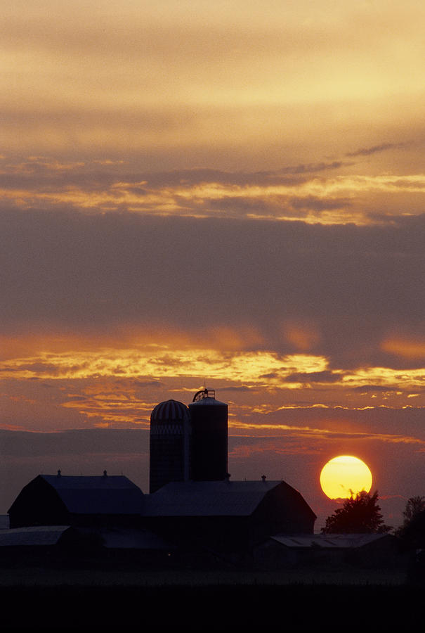 Farm Photograph - Farm At Sunset by Steve Somerville