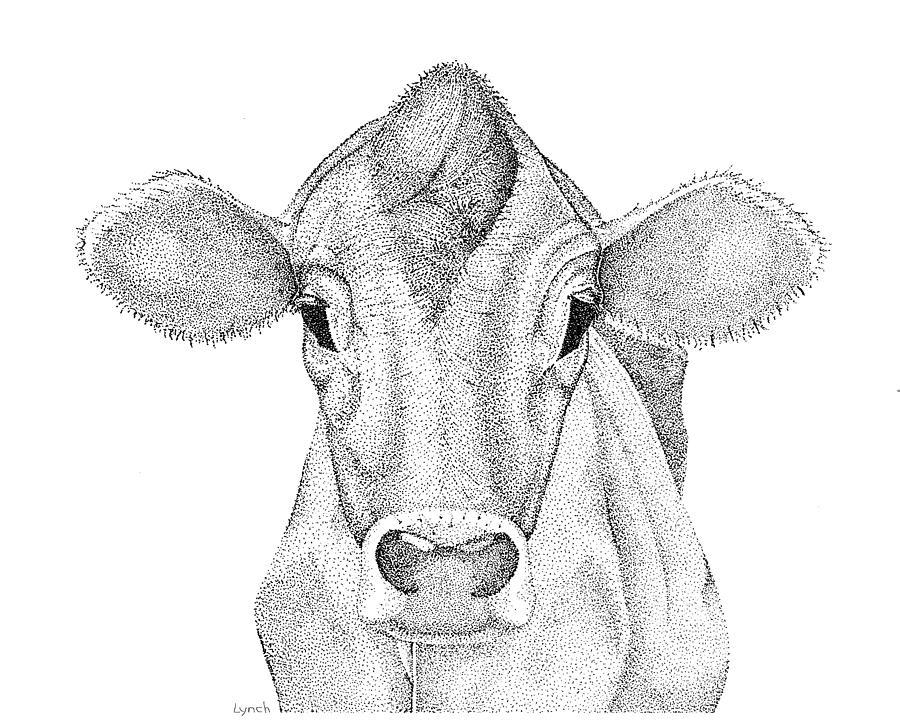 Cow Digital Art - Farm Cow In Pointillism by Gerald Lynch