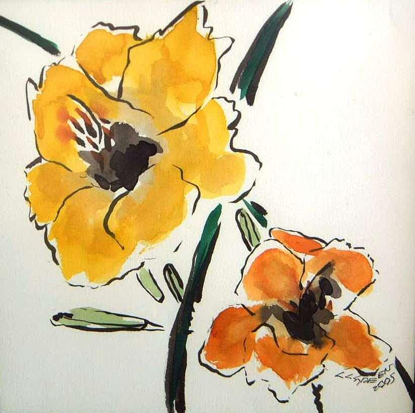 Farm Flowers Painting by Christopher Green