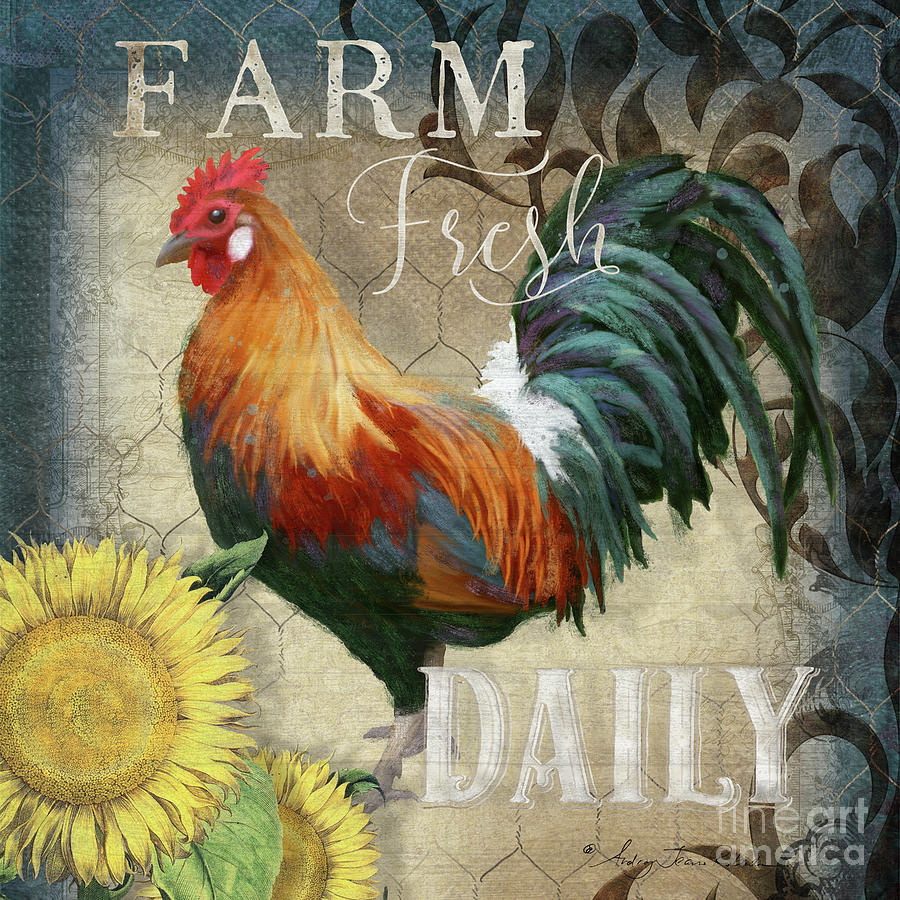 Rustic Painting - Farm Fresh Red Rooster Sunflower Rustic Country by Audrey Jeanne Roberts
