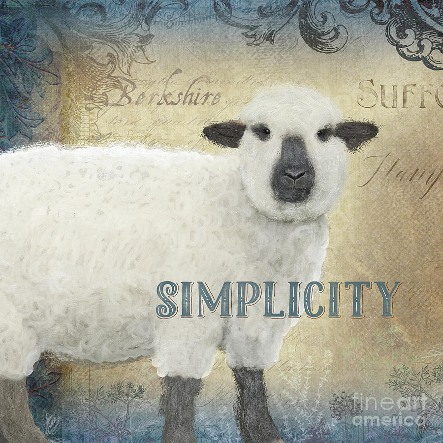 Farm Painting - Farm Fresh Sheep Lamb Simplicity Square by Audrey Jeanne Roberts