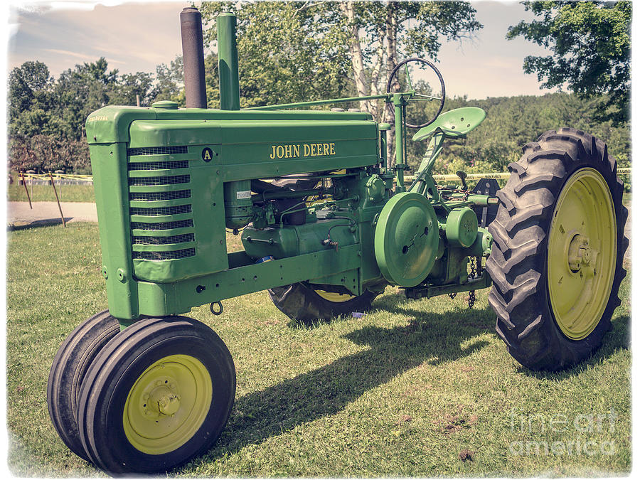 Tractor Photograph - Farm Green Tractor Vintage Style by Edward Fielding