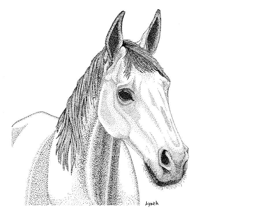Horse Digital Art - Farm Horse In Pointillism by Gerald Lynch