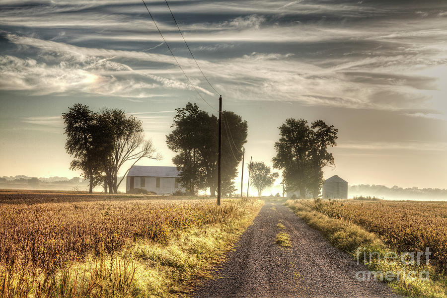 Driving Photograph - Farm House Along A Gravel Road  by Larry Braun