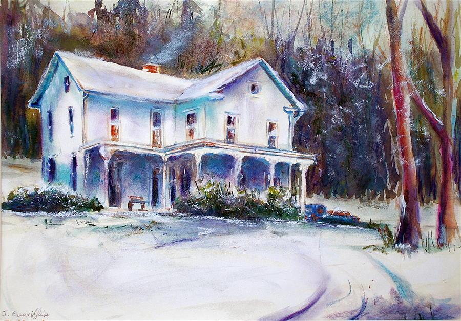 Snow Painting - Farm House by Joyce A Guariglia