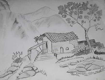 Farm House Drawing by Naveen Gopinath