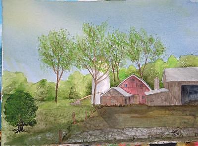 Landscape Painting - Farm In Spring by Diane Ziemski