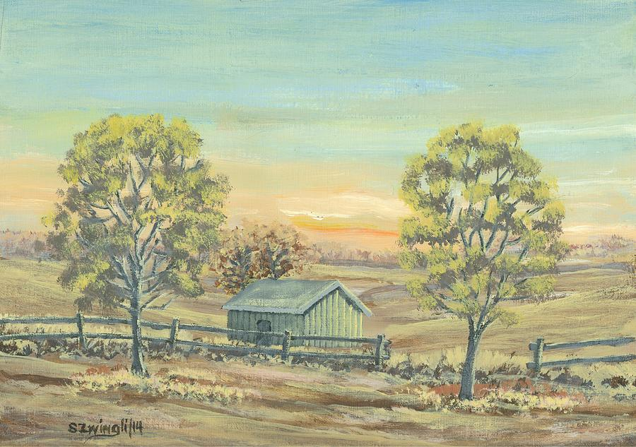 Farm Painting - Farm In The Dell by Shelley Zwingli