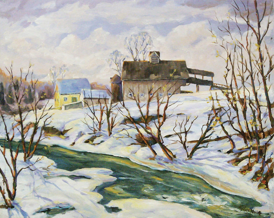 Farm Painting - Farm In Winter by Richard T Pranke