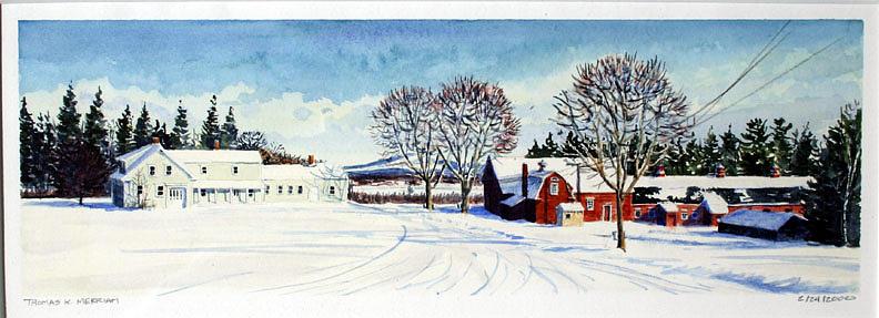 Farm Painting - Farm In Winter by Tom Merriam