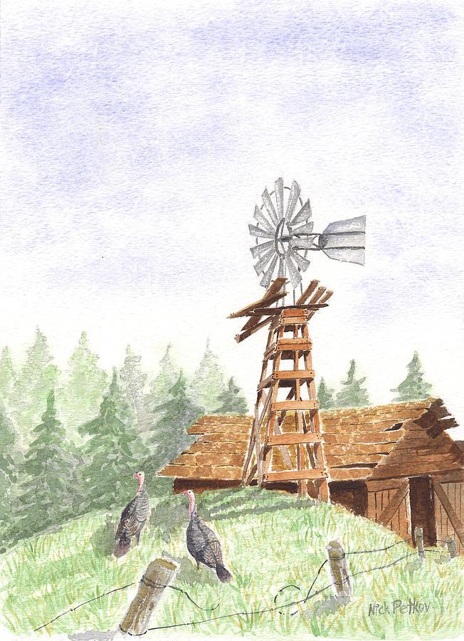Farm Painting - Farm by Nick Petkov