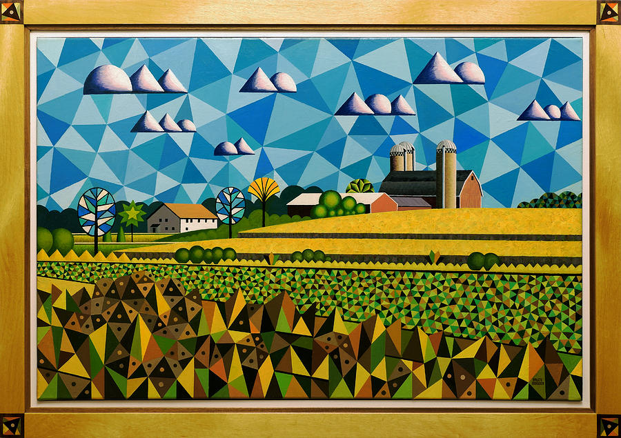 Landscape Painting - Farm On Hwy 28 Framed  by Bruce Bodden