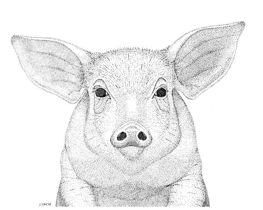 Pig Digital Art - Farm Pig In Pointillism by Gerald Lynch