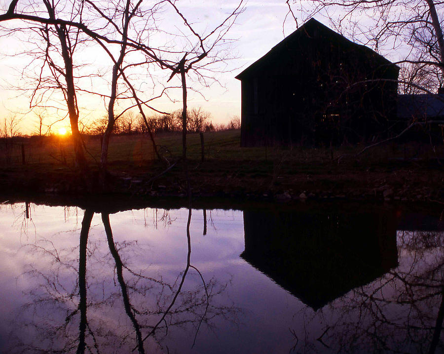 Landscape Photograph - Farm Pond At Sunset by George Ferrell