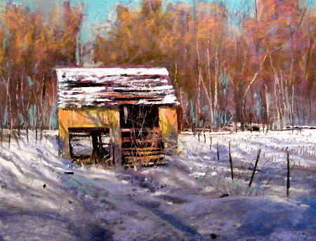 Landscape Pastel - Farm Shed -winter by Tom Christopher