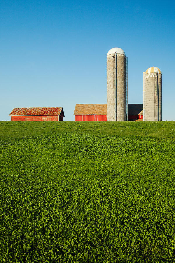 Silos Photograph - Farm Silos And Shed On Green And Against Blue by Todd Klassy
