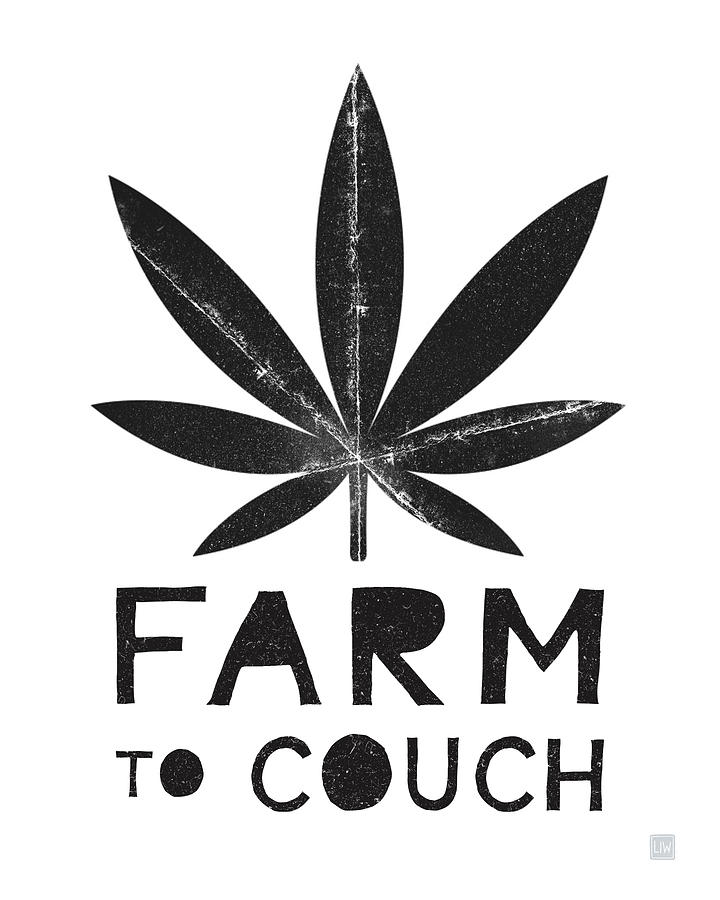 Cannabis Mixed Media - Farm To Couch Black And White- Cannabis Art by Linda Woods by Linda Woods