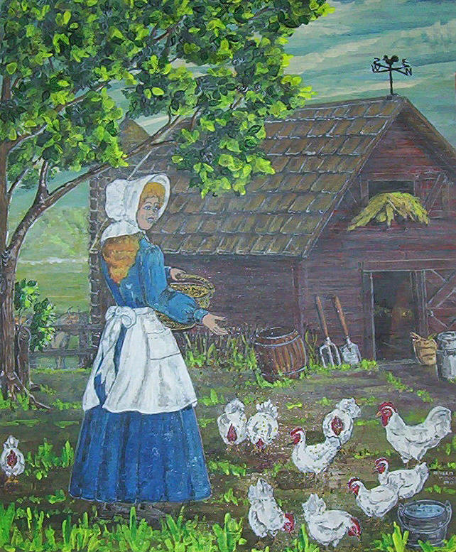 Barn Painting - Farm Work I by Phyllis Mae Richardson Fisher