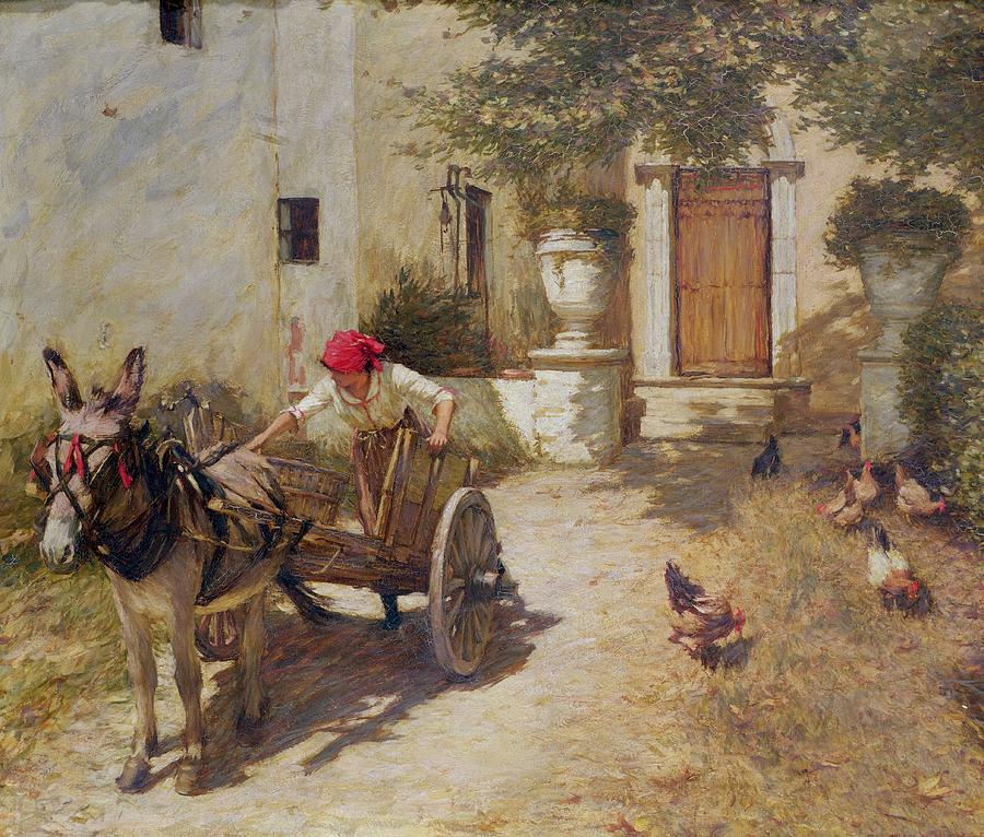 Farm Painting - Farm Yard Scene by Henry Herbert La Thangue