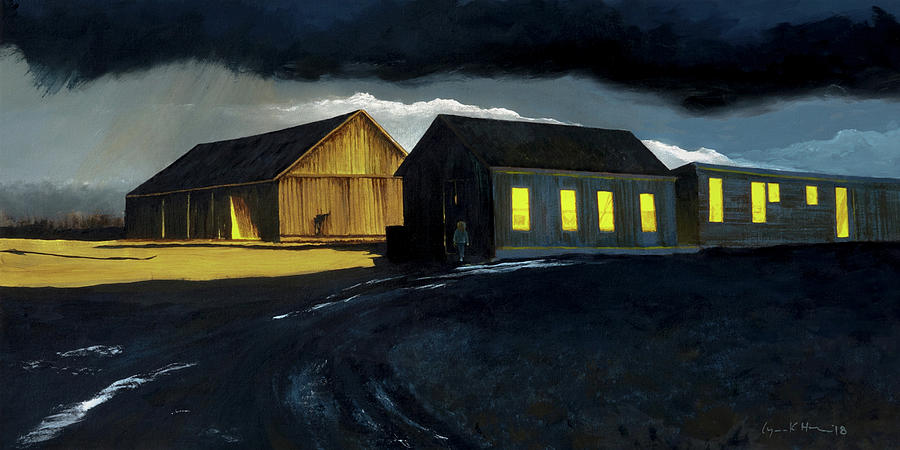 Farm Yard with Moonlight and Rain by Lynn Hansen