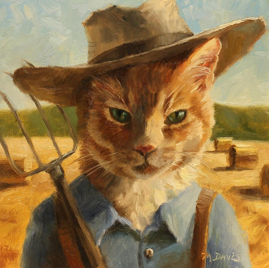 Farmer cat is exited