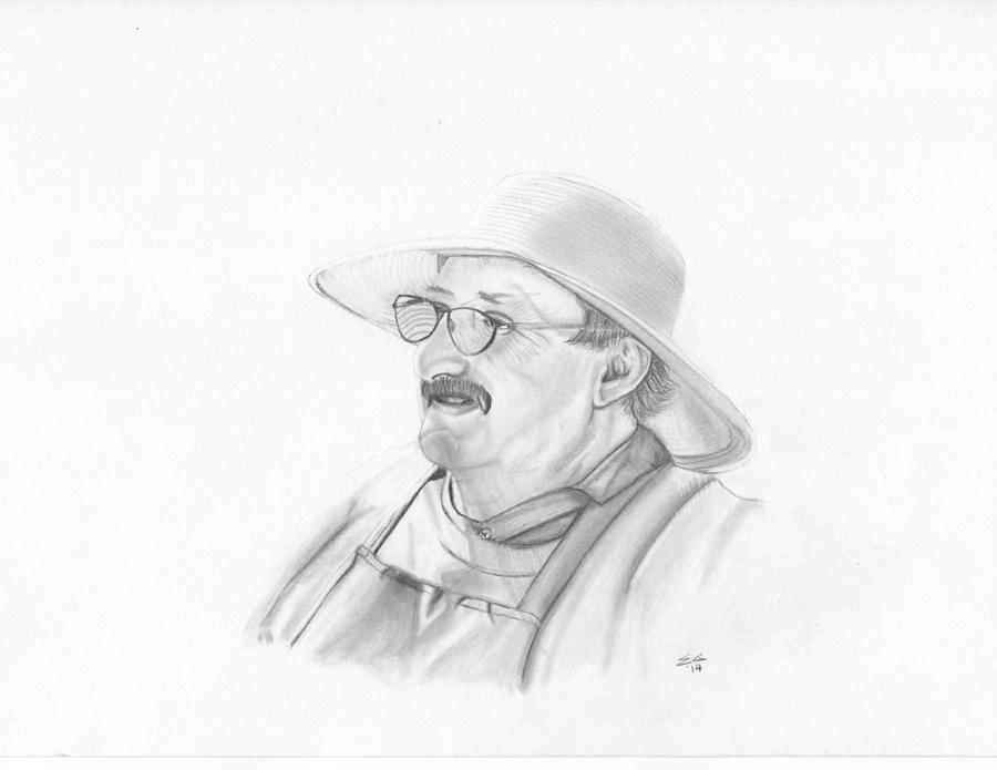 Portrait Drawing - Farmer by Ekta Gupta