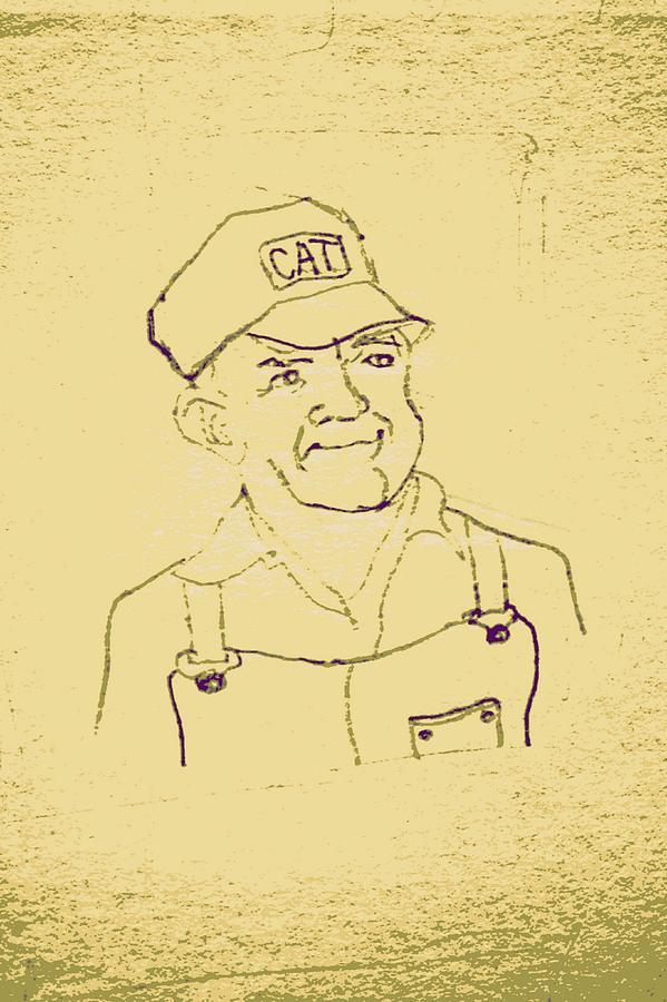 Farmer Drawing - Farmer In Cat Hat by Sheri Buchheit