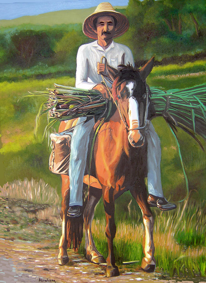 People Painting - Farmer On A Horse by Jose Manuel Abraham