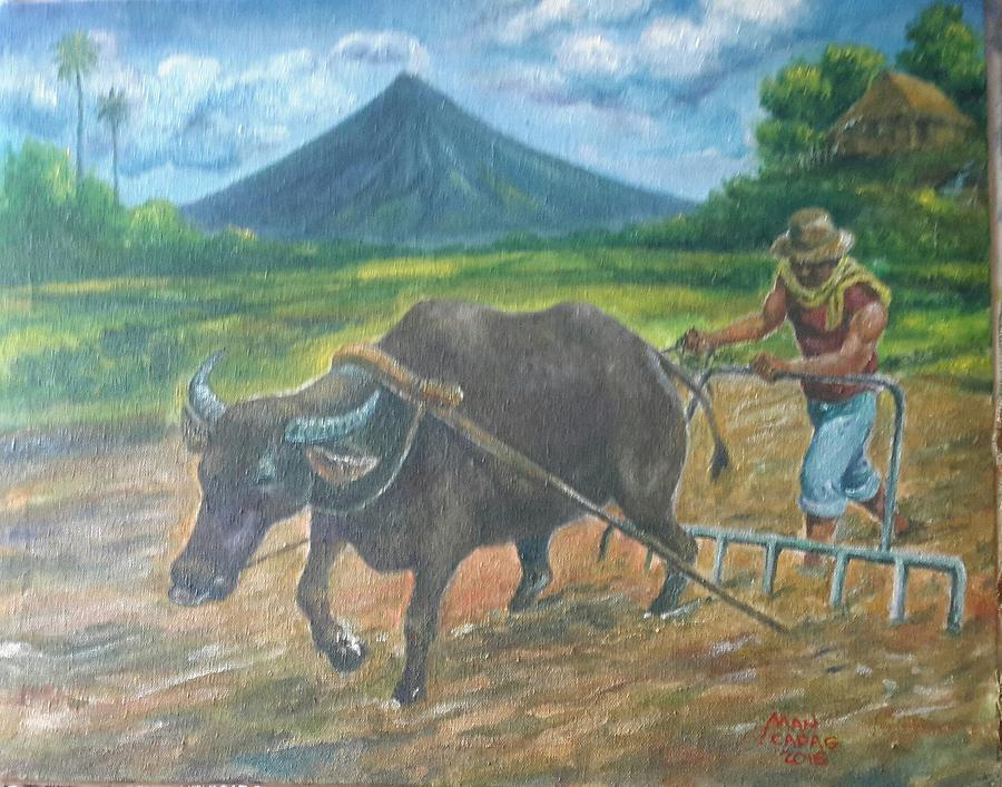 Mayon Painting - Farmer_2 by Manuel Cadag