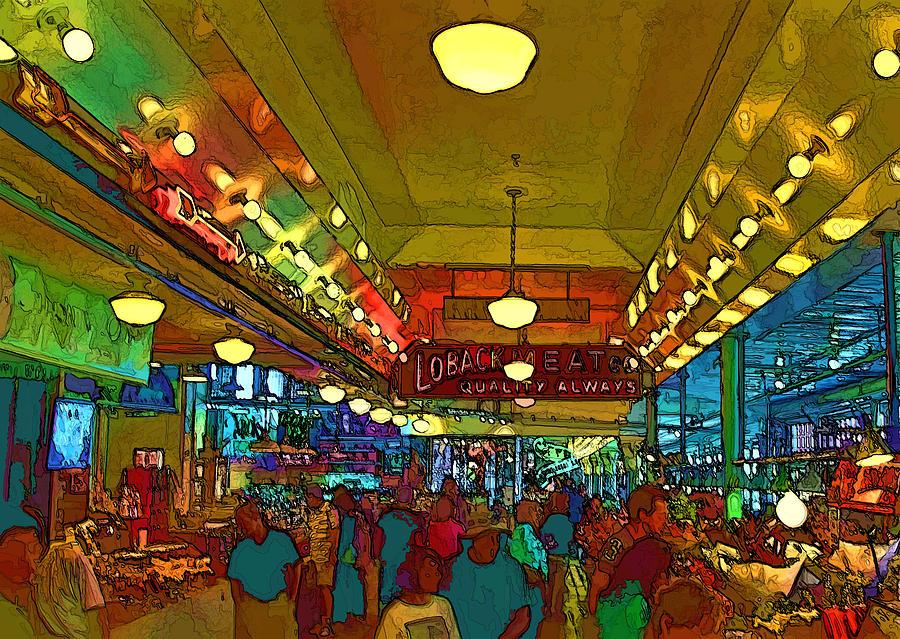 Seattle Digital Art - Farmers Market by Dale Stillman