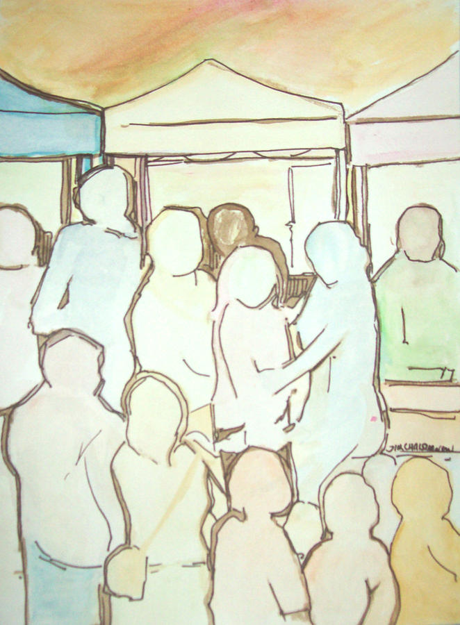 Watercolor Painting - Farmers Market by James Christiansen