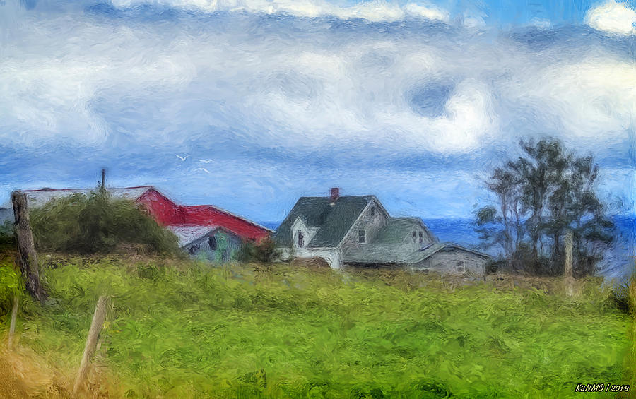 Farm Digital Art - Farmhouse By The Sea by Ken Morris